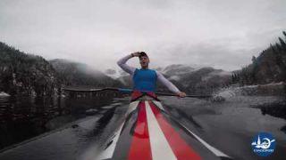 Training on the Ritsa lake canoe sprint